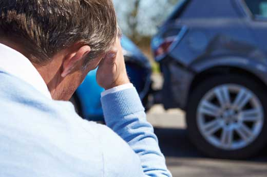 A man stressed out due to auto accident