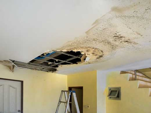 Water leaks down the rooftop inside home